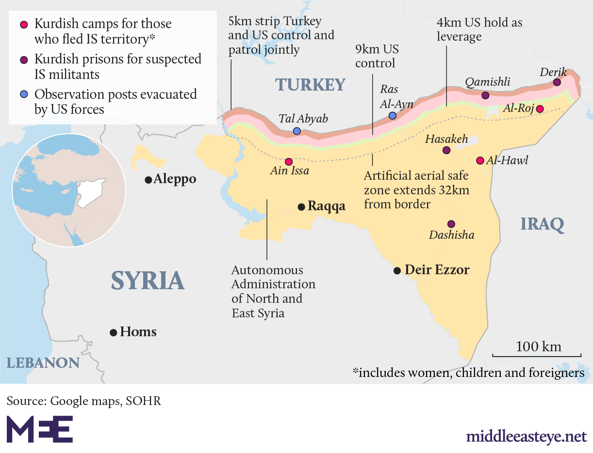 Map showing where SDF-run detention centres and prisons for IS captives are across Syria (MEE)
