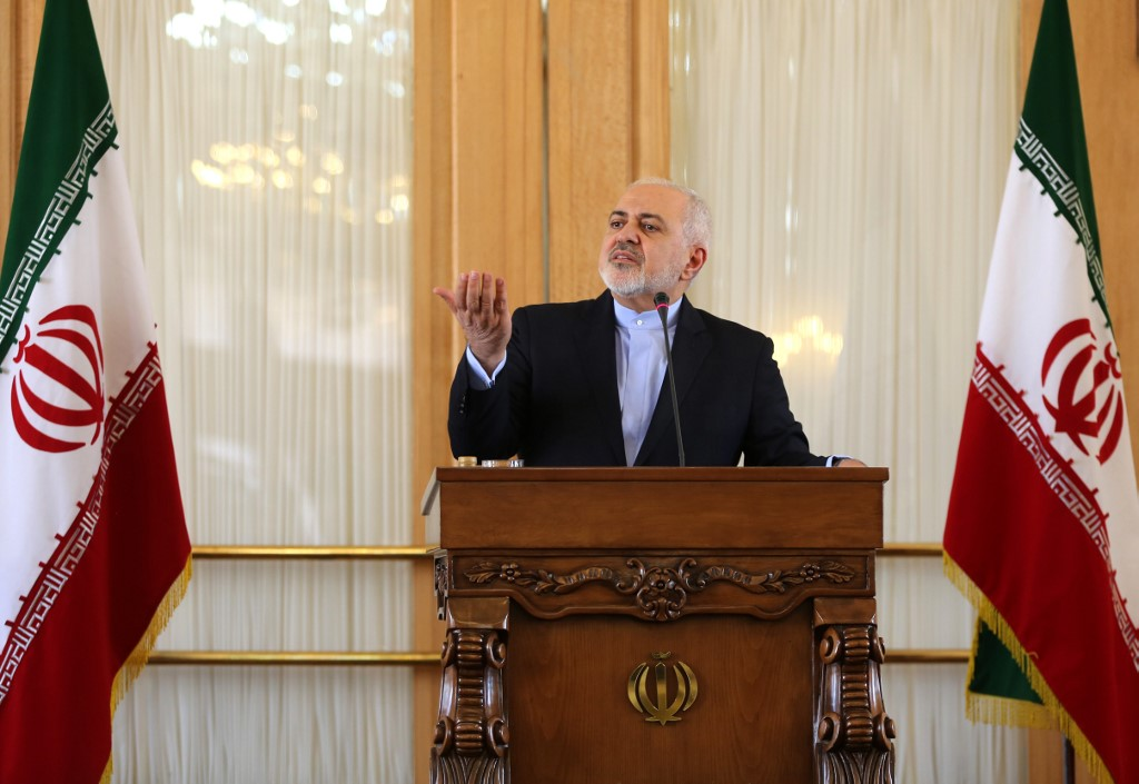 Iranian Foreign Minister Mohammad Javad Zarif speaks in Tehran on 13 February (AFP)